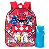 Power Rangers Backpack Combo Set - Power Rangers Boys' 3 Piece Backpack Set - Backpack, Waterbottle and Carabina (Black/Red)