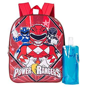 Power Rangers Backpack Combo Set - Power Rangers Boys  3 Piece Backpack Set - Backpack Waterbottle and Carabina  Black/Red