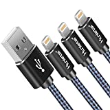 Hunletai Cable iPhone Cable Lightning [2M 3Pack] Trenzado de Nylon Cargador iPhone Compatible con iPhone XS MAX X 8 Plus 7 Plus 6S 6 Plus 5 5S 5C SE iPad, Azul