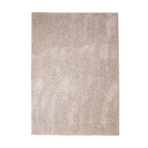 MyShop24h Teppich Wohnzimmer Beige Hochflor Shaggy 60x110cm Oeko-Tex Standard 100% Micro-Polyester Einfarbig Allergiker geeignet