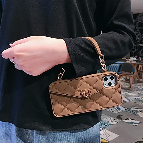 GGOIl Wallet Handbag Crossbody Funda para teléfono para iPhone 11 Pro XS MAX XR X 6s 8 7 Plus 12 Ranura para Tarjeta Monedero Funda de Silicona con Cadena de Correa, marrón, para i6 i6s