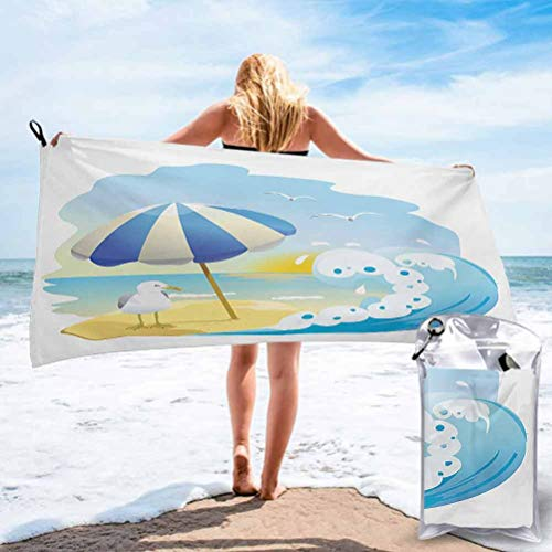 Ahuimin Ultra Fast Dry Travel and Sports Towel, Seagull at The Beach with Umbrella Waves Sand at Seaside Sunny Sky Cartoon Print 27.5 x 55 Inch Best for Gym Travel Camp Backpacking