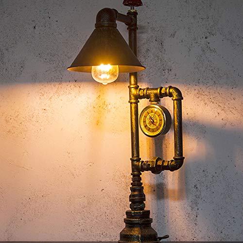 SFRIDQ Loft Creative Iron Tube Augenschutz LED Tischlampe Retro Industrial Style Bar Schreibtischlampe Schreibtisch Dimmen Wasserrohr Leselampe
