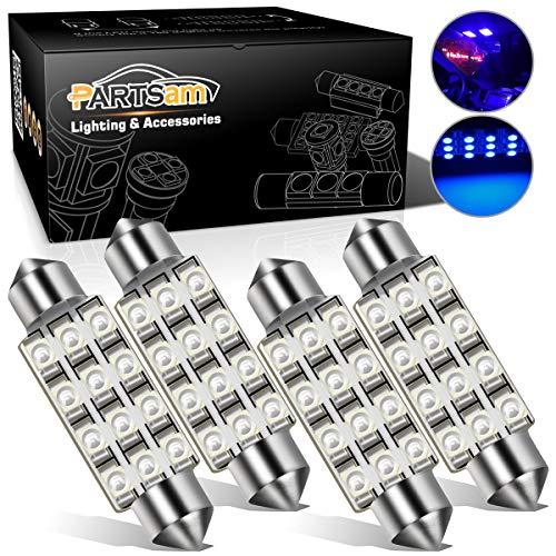 Partsam 42mm Festoon LED Light Bulbs LED Interior Lights Map Dome Lights Bulbs 211-2 578 569 Festoon LED Bulb - Blue (4 Pcs)