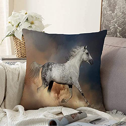"Almohada Decorativa Nature Force Orlov Action Horse Beauty Gallop Wild Run Young Motion Dust Diseño Ecuestre Mane Square Cozy Funda de cojín Throw Pillow Funda para sofá, 18""x 18"""