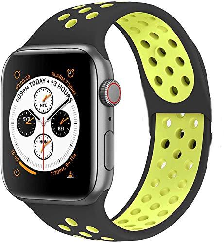 Armband für Apple Watch, 38 mm, 40 mm, 42 mm, 44 mm, Ersatzarmband aus weichem Silikon, Sport-Armband mit Luftlöchern, passend für Serien 5, 4, 3, 2, 1., Schwarz/Grün, 42 mm / 44 mm