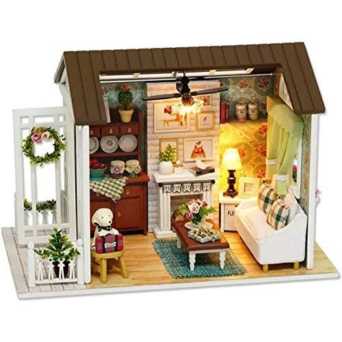 ZHANG Dollhouse Model Building Kits mit Möbeln LED Music Box Miniatur Holzpuppenhaus 3D Puzzle Challenge, für Kinder Teenager Erwachsene