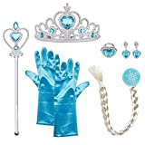 URAQT Mdchen Prinzessin ELSA Kleid Kostm Eisprinzessin Set aus 1x Paar Handschuhe + 1x Zauberstab + 1x Diadem + 1x Zopf + 1x Paar Ohrringe, 2-9 Jahre