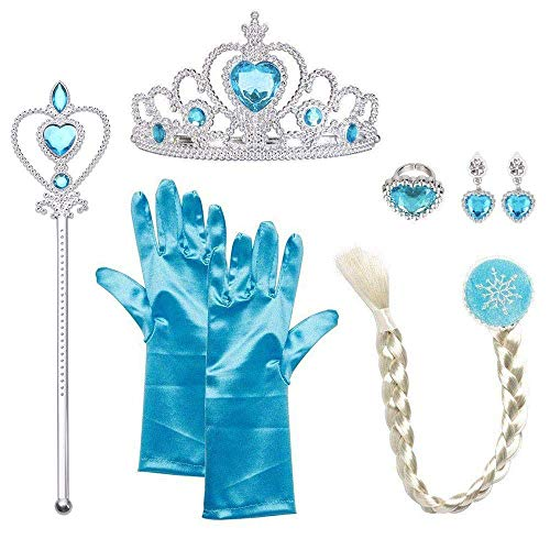 URAQT Mädchen Prinzessin ELSA Kleid Kostüm Eisprinzessin Set aus 1x Paar Handschuhe + 1x Zauberstab + 1x Diadem + 1x Zopf + 1x Paar Ohrringe, 2-9 Jahre