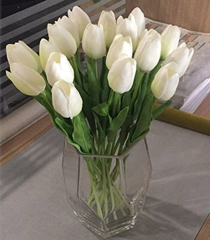 oferta especial LXFLY 20 Tulipanes Tulipanes Tulipanes Ramo Flor Artificial florero de Vidrio Sala de Estar Flor Falsa decoración de Escritorio de Interior decoración arreglo Floral 20 blancoo con florero geométrico  40% de descuento