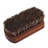 Fdit Shoes Brush Horse Hair Scrub Boots Polishing Buffing Cleaning Brush with Wooden Base Dust Dirt...