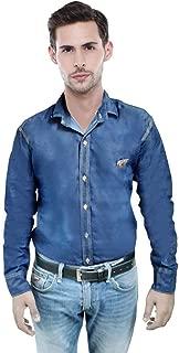 Niue Men's Denim Slim Fit Causal Shirt (Blue)