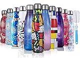 JOGVELO Bottiglia Acqua in Acciaio Inox, Pennello per Bottiglia Borraccia Termica Isolamento Sottovuoto a Doppia Parete (500ML, Cielo Stellato Viola)
