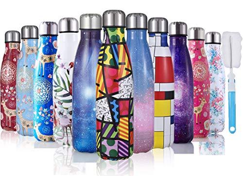JOGVELO Botella de Agua Acero de Inoxidable 500ml/750ml con Pincel de Botella para Ciclismo, Viajes, Correr, Acampar