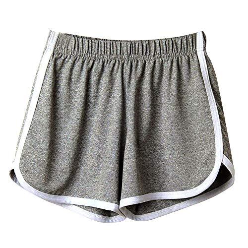 SHOBDW Las Mujeres de Moda señora de la Cintura elástica Verano sólido hasta la Rodilla cómodos Pantalones Cortos Deportivos Pantalones Casuales de Playa (M, Gris)