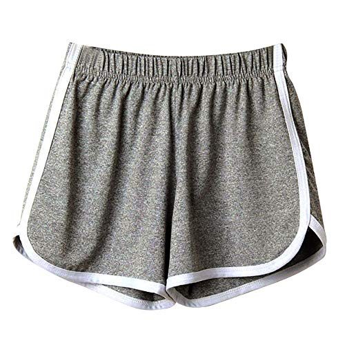 SHOBDW Las Mujeres de Moda señora de la Cintura elástica Verano sólido hasta la Rodilla cómodos Pantalones Cortos Deportivos Pantalones Casuales de Playa (S, Gris)