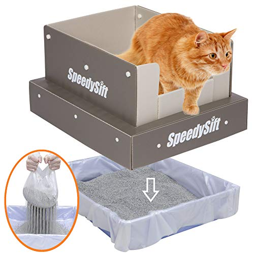 SpeedySift Cat Litter Box with Disposable Sifting Liners, PP Plastic High Sides, Large
