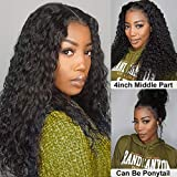 ISEE Hair Lace Front Wigs Human Hair Deep Water Wave 150% Density Human Hair Wigs for Black Women Pre Plucked with Baby Hair 13x4 Swiss Lace Size Natural Color 22 Inch