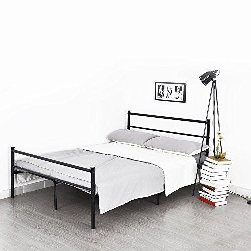 Lit Double Cadre de Lit en Métal, avec Sommier + Lattes et Espace de Rangement, Structure Métallique Solide pour Enfants Adultes, 140 x 190 CM, Noir