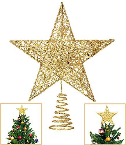 Lodou - Estrella de 5 puntas para copa de árbol de Navidad, decoración para la punta del árbol de navidad, estrella de 20,32 cm con purpurina dorada, adorno navideño para el hogar, fiestas, festivales