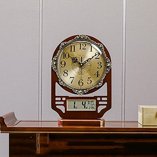 Reloj de pared retro marrón Reloj de Mantel,Relojes de escritorio de decoración de dormitorio en la cama,Reloj de mesa silencioso Estilo europeo Retro Escritorio Retro reloj de reloj para leer para sa
