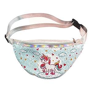 Fenical Riñonera con lentejuelas, unicornio, brillante, antirrobo, bolsillo en el pecho, monedero, para mujeres y niñas