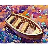 Pintura por números para colorear pintura de paisaje cuadro de lienzo pintura al óleo por número mar pintado a mano decoración del hogar A20 40x50cm