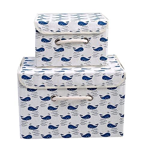 Caja Almacenamiento Plegable De 2 Piezas Canasta Almacenamiento Tela Lino Algodón Cubierta Organizador Impermeable Escritorio Asa Patrón Animal Almacenamiento Domésticos Canasta,style 1-Large one