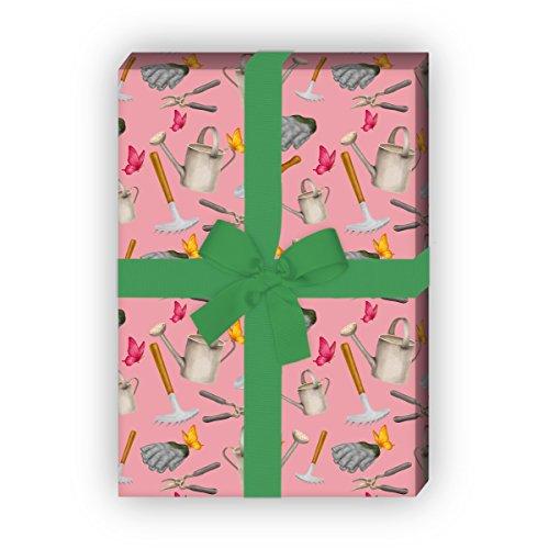 Kartenkaufrausch Gärtner geschenkpapier set 4 vellen, decoratief papier met gieter, hark en heggenschaar, roze, voor leuke geschenkverpakking, patroonpapier om te knutselen 32 x 48 cm