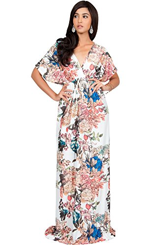 KOH KOH Petite Womens Long Kimono Sleeve Short Sleeves V-Neck Vintage Floral Print Summer Hawaiian Casual Cocktail Sundress Sun Gown Gowns Maxi Dresses, Ivory White S 4-6