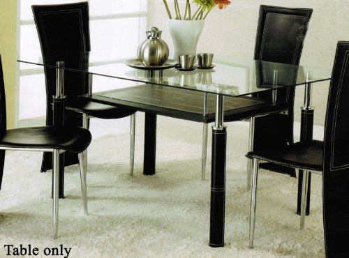 Dining Table with Glass Top and Leatherette Legs in Silver Finish by Acme