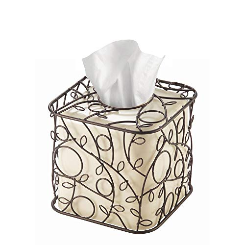iDesign Twigz Plastic and Metal Facial Tissue Box Cover, Boutique Container for Bathroom Vanity Countertops, 6' x 6' x 6', Bronze and Vanilla