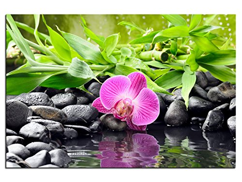 kunst-discounter Bild Leinwandbilder Canvas Orchidee Bambus Steine Designbild A05397 30 x 20 cm