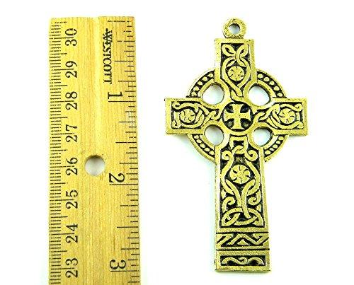 PlanetZia Beautiful 3 inch Celtic Knots Antique Gold Cross Pendant TVT-QCC