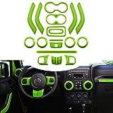 Opall 18PCS Full Set Interior Decoration Trim Kit Steering Wheel & Center Console Air Outlet Trim, Door Handle Cover Inner for Jeep Wrangler JK JKU 2011-2018 2 Door &4 Door (Green)