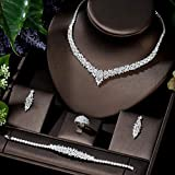 yuese Juego de collar para hija de moda, collar de boda, pendientes para mujer, circonita cúbica completa, conjuntos de joyería nupcial (color metálico: chapado en platino)