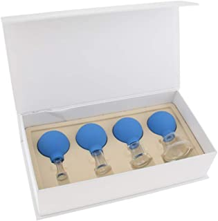 Fityle 4 x Glass Silicone Massage Vacuum Cupping Cups Set Kit for Body Face Leg Arm Back Shoulder