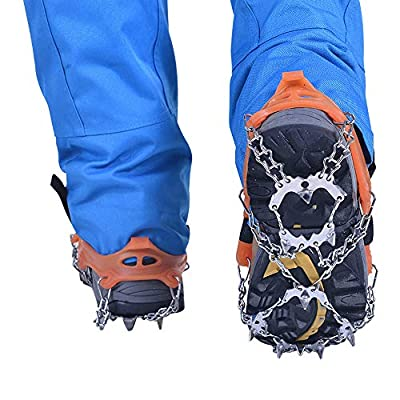 BaiYouDa 19 Tooth Crampons Non-Slip Shoe Cover Traction Cleats Ice Snow Grips Outdoor Climbing Ice Climbing Snow Claw(1 Pair)