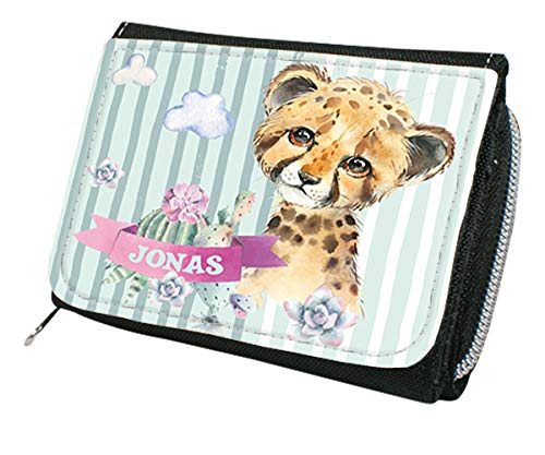 wolga-kreativ Kindergeldbörse Geldbörse Geldbeutel Portemonnaie mit Namen Leopard für Mädchen Junge-n personalisiert für Kinder klein Geschenk Geburtstag Einschulung Schultüte Füllung