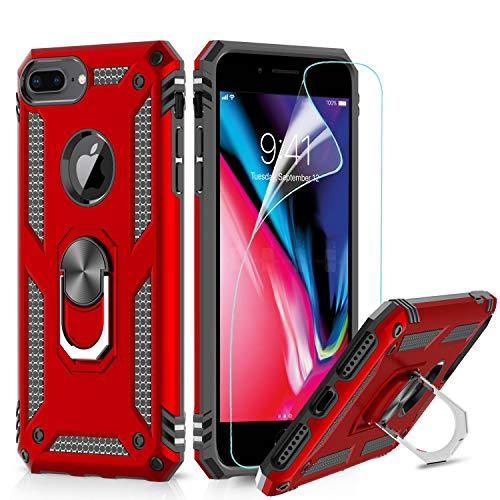 LeYi Funda iPhone 6 Plus / 7 Plus / 8 Plus Armor Carcasa con 360 Grados Anillo iman Soporte Hard PC y Silicona TPU Bumper antigolpes Case para movil iPhone 8 Plus con HD Protector Pantalla, Rojo