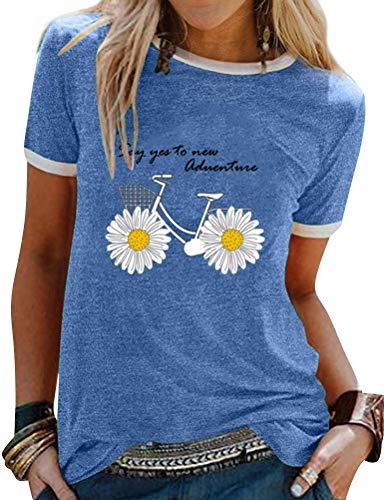 Dresswel Say Yes to New Adventure Gänseblümchen Druck T-Shirt Damen Tops Sommer Oberteile Rundhals Kurzarm Tee Shirts Bluse