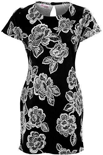 Fantasia Boutique Femmes Floral Pastel Imprimé Manches Courtes Crêpe Texturé Robe Droite Jupe Trapèze Tunique - Noir, 38