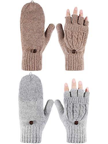 2 Pares de Guantes sin Dedos de Mujeres Manoplas Convertibles de Invierno Guantes de Punto de Mitad de Dedos co Tapa (Gris y Caqui)