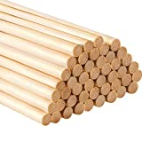 Hestya 12 Inch Long Bamboo Dowel Rods Craft Sticks for Craft Projects, 50 Pack (1/4 Inch Diameter)