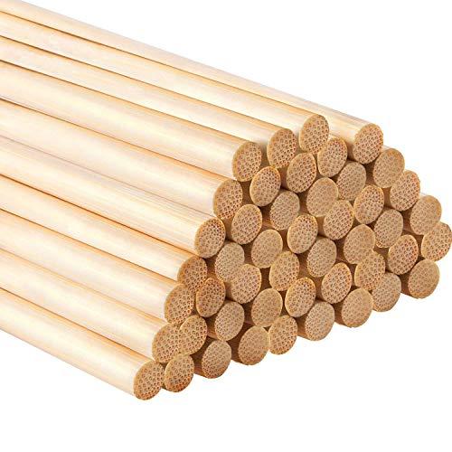 Hestya 12 Zoll Lange Bambus Dübelstangen Handwerk Sticks für Handwerk Projekte, 50 Packung (1/4 Inch Diameter)