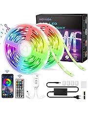15M Ruban LED RGB Musique, HOVVIDA Bluetooth Bande LED RGB 12V, Contrôlé par APP, IR Télécommande et Contrôleur, 16 Millions de Couleurs, 28 Modes de Style, Mode de Chronométrage.