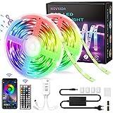 15M Tiras LED RGB 5050 Música, HOVVIDA Bluetooth Luces de Tiras LED 12V para Habitación, Controladas por APP, IR Control Remoto...