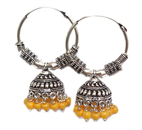 Pahal - Pendientes de aro de plata oxidada con perlas amarillas de color amarillo