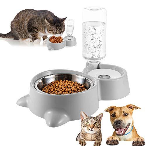 Cuenco Doble para Mascotas,Comedero para Perro Gato Comedero Automático Mascotas y Dispensador de Agua,Cuenco para Comer con Botella de Agua dispensador de Agua,para Mascotas, Perros, Gatos (A)