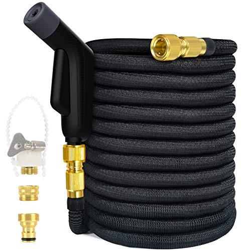 Gartenschlauch Flexible - Dehnbarer flexibler Gartenschlauch Teleskopschlauch Bequeme Aufbewahrung, für Autowäsche, Gartenarbeit, Bewässerung, Balkon- / Gartenreinigung, schwarz (10 m bis 30 m)